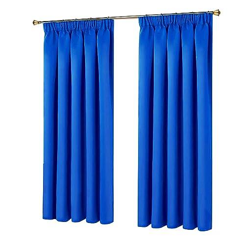 Curtains 66 Blue Pencil Pleat Amazon Co Uk