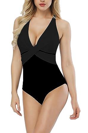 617c4aa3df98b SEABBOT Women s Deep V Front Cross Type One Piece Swimsuit Bathing Suit  Swimwear(Black