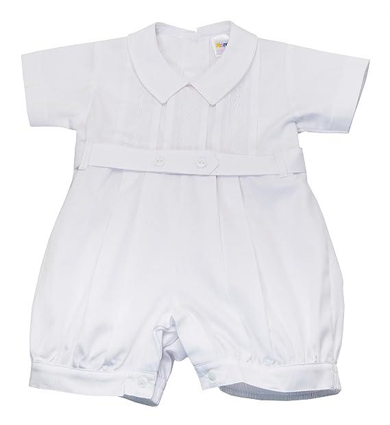 522ff52f Karela White Christening Baby Boy Romper. Beautiful Elegant Details. Back  Buttoned Closure. White