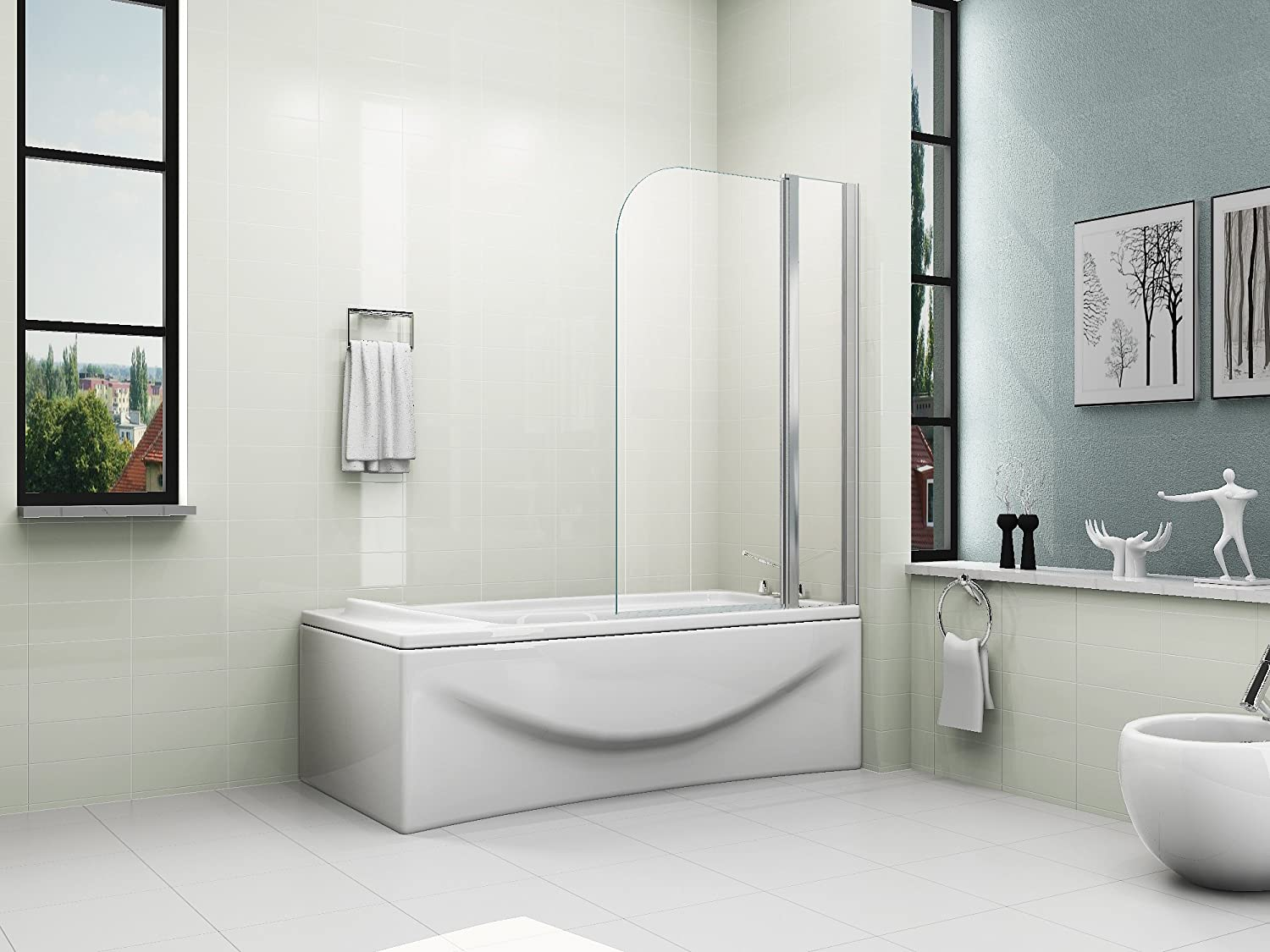 HNNHOME 180° Pivote Panel Doble Pantalla Ducha de Baño Vidrio 6mm: Amazon.es: Hogar