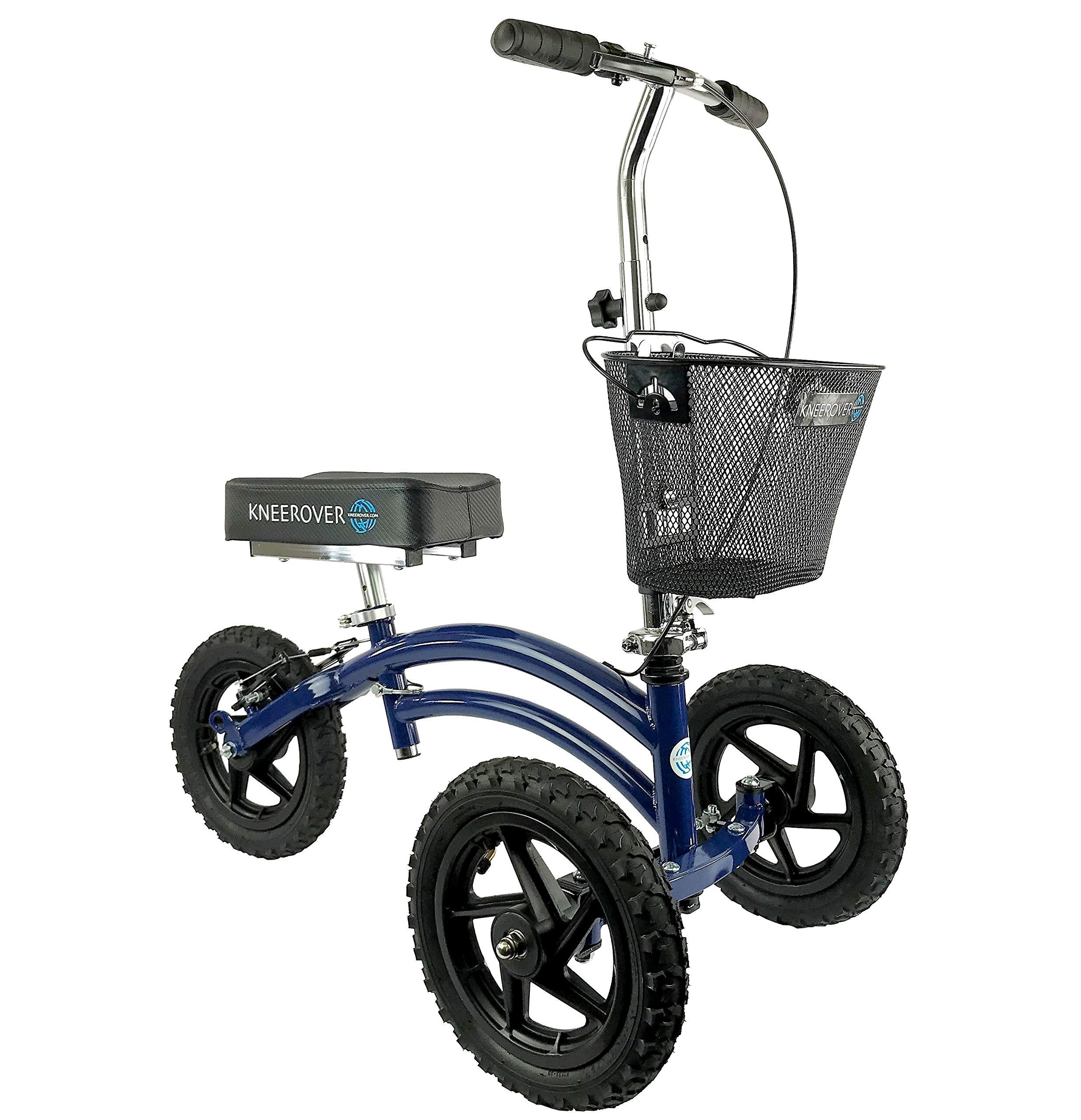 All Terrain KneeRover Steerable Knee Scooter Knee Walker Heavy Duty Crutches Alternative in Blue by KneeRover