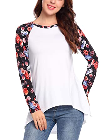 cf0176c4a9247 Hersife Women Floral Patchwork T Shirts Long Sleve High Low Shirts Tops  White S