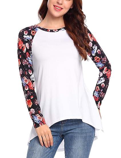 4276d8cad0 Hersife Women's Long Sleeve High Low Hem Shirt Patchwork Floral T-Shirt  Tunic Tops