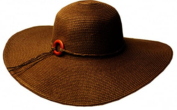 92ecdb3a Sakkas EH7311LF - Womens UPF 50+ 100% Paper Straw Wood Bead Accent Wide Brim  Floppy Hat - Brown/One Size at Amazon Women's Clothing store: Sun Hats