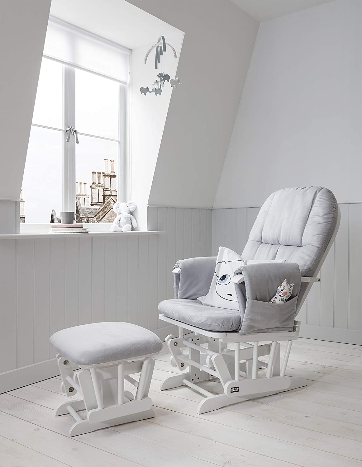 Tutti Bambini GC35 Padded Smooth Glider Baby Nursing Chair & Foot Stool with 3 Reclining Positions – White Wood Frame with Grey Soft Fabric Cushions