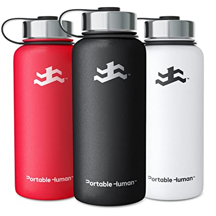 Portable Human 32oz Water Bottle   Wide Mouth   Vacuum Insulated 18/8  Stainless Steel