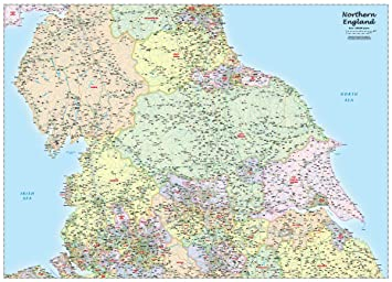 Northern England Political Wall Map Amazon Co Uk Office Products