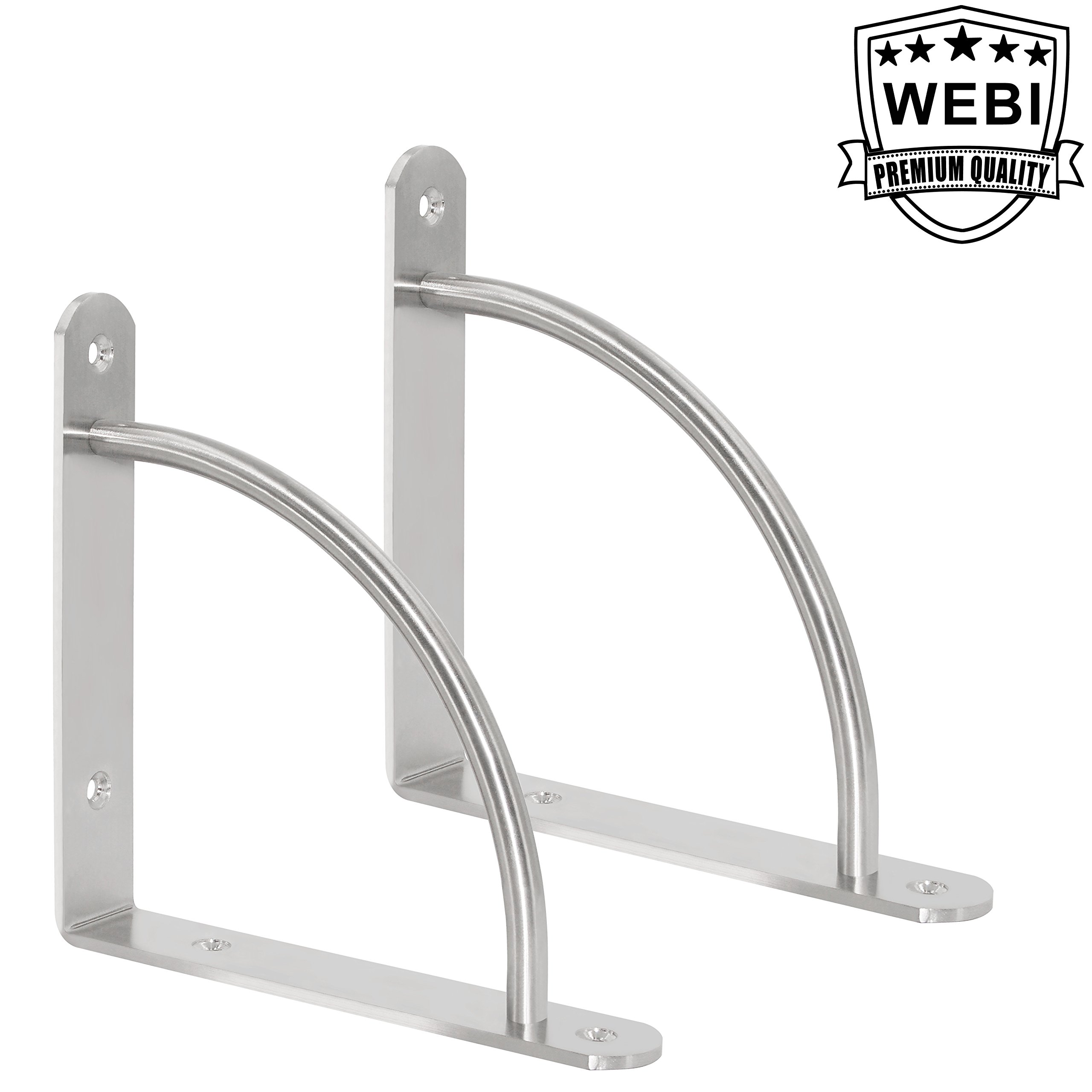 WEBI Heavy Duty Stainless Steel Corner Braces, L Shaped Right Angle Brackets, Joint Fastener, Shelf Support, With Screwed Arc Supporting Leg, 2-Pack