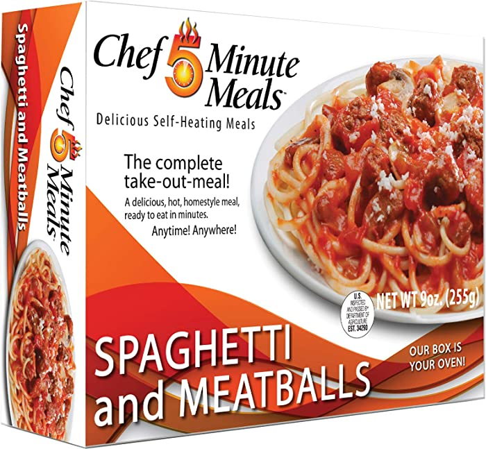 Chef 5 Minute Meals Spaghetti & Meatballs Self-Heating Boxed Meal Kit