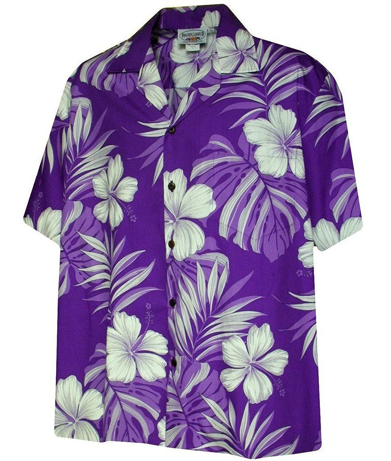 Amazon Monstera Leaf Hibiscus Floral Mens Hawaiian Shirt Clothing