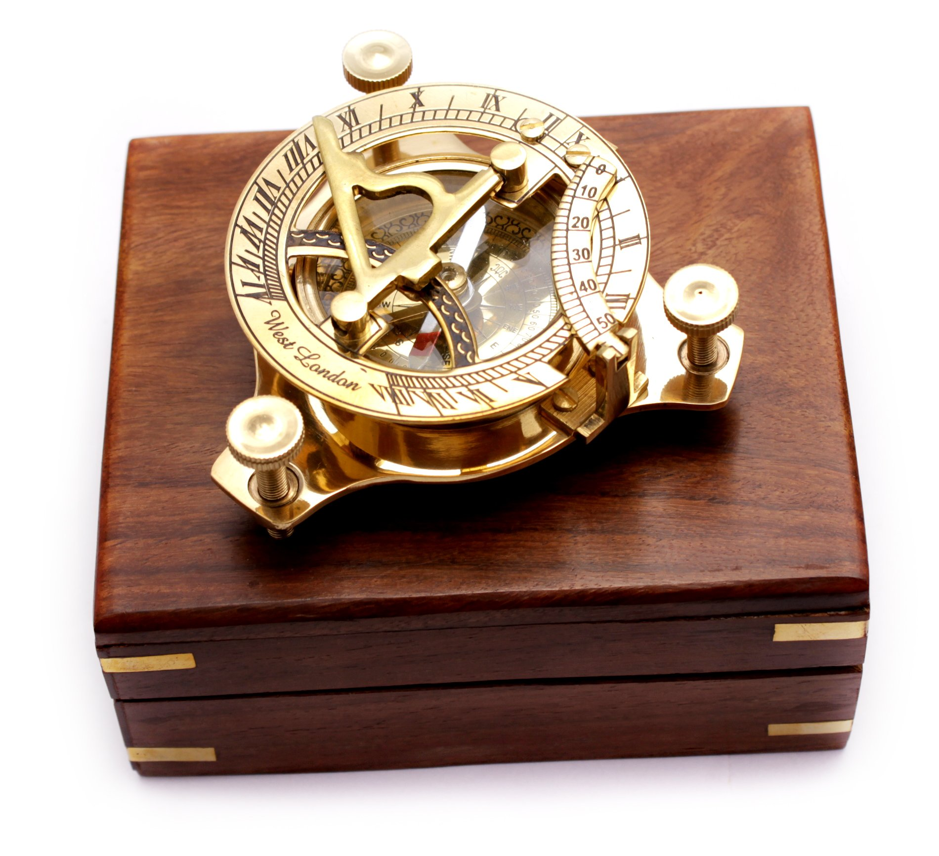 Captain's Brass Triangle Sundial Compass 3.2'' - Brass Desk Compasses - Nautical Decor Home Decoration - Executive Promotional Gift