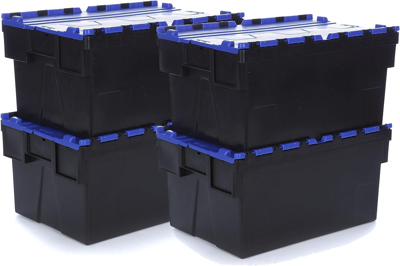 Racking Solutions - Nuevo - Croc Caja de Almacenamiento de plástico de 56 LTS, Caja de Almacenamiento con Tapa - 310mm Al x 400mm An x 600mm Pr, Industrial, apilable/anidado Conjunto de