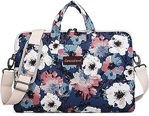 Canvaslove Camellia Pattern Canvas Laptop Shoulder Messenger Bag Case Sleeve for 14 Inch 15 Inch Laptop