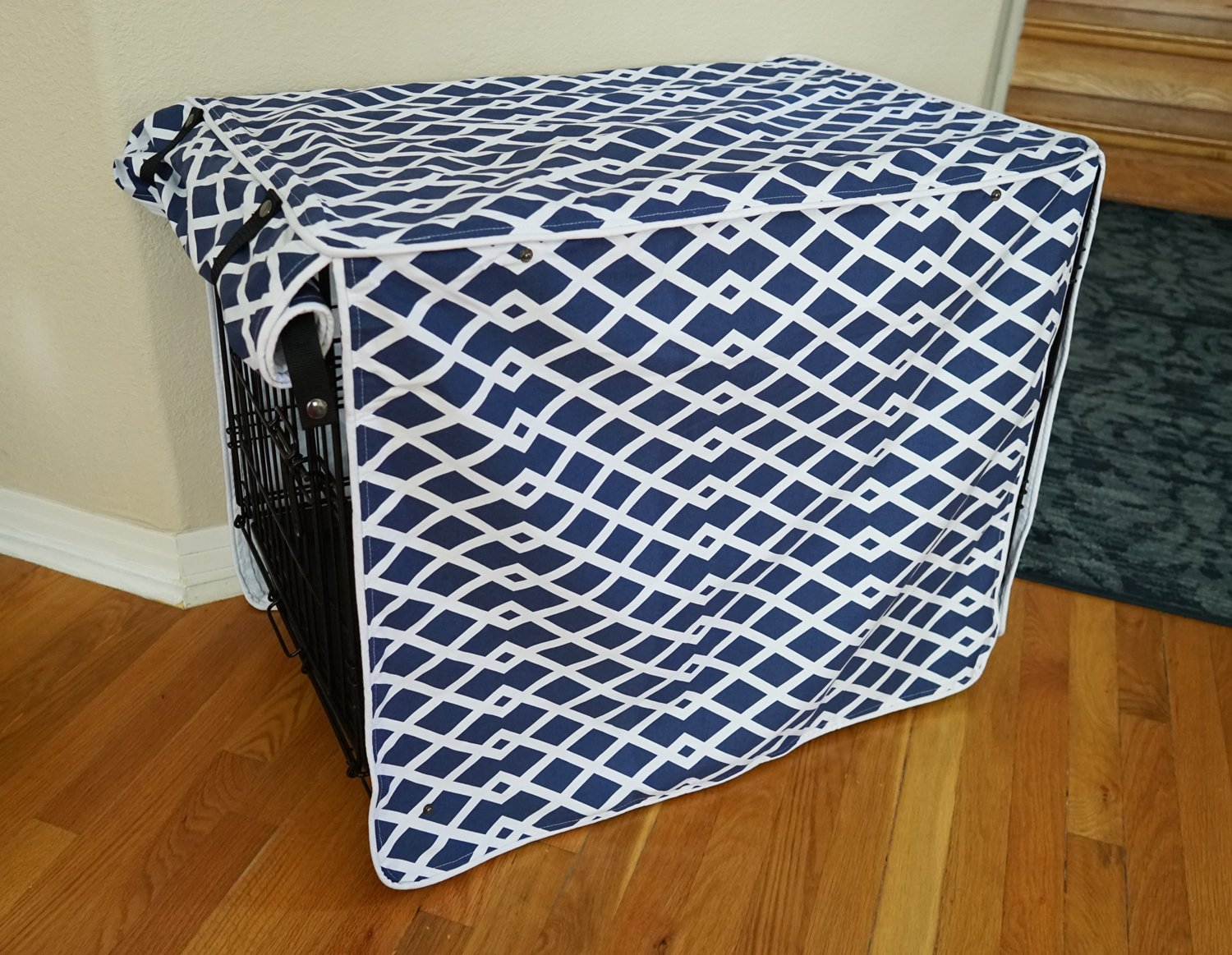 528zone Modern Blue Marine Dog Pet Wire Kennel Crate Cage House Cover (Small, Medium, Large, XL, XXL) (SMALL 24x18x21)