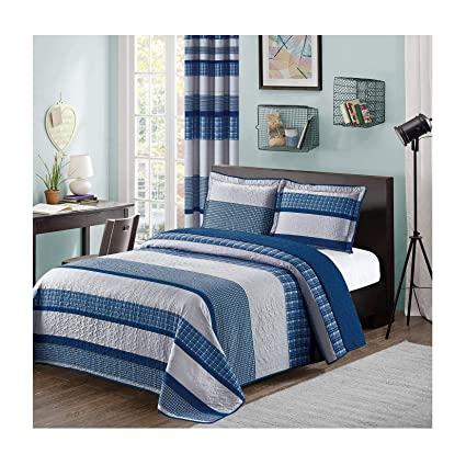 Amazon Com Blue And Gray Modern Plaid 3 Piece Queen Bedspread And