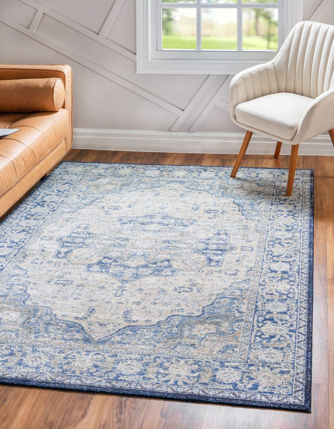 Unique Loom Augustus Collection Boho Traditional Vintage Blue Area Rug 9 0 x 12 0