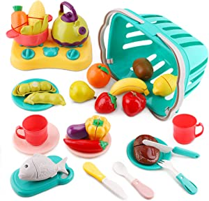 iPlay, iLearn Cutting Play Food Toy, Kids Pretend Kitchen Set W/ Basket, Pot, Play Cooking Toys, Plastic Velcro Fruit Vegetables, Tea Set, Birthday Gifts for 3 4 5 6 Year Old Toddler Boys Girls Child