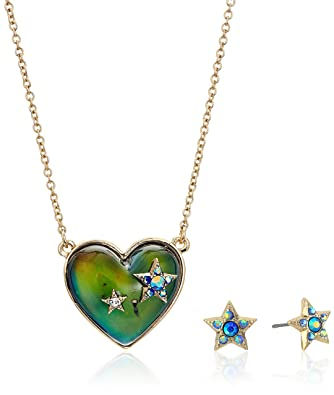 Amazon betsey johnson heart shape mood pendant and star stud betsey johnson heart shape mood pendant and star stud mozeypictures Image collections