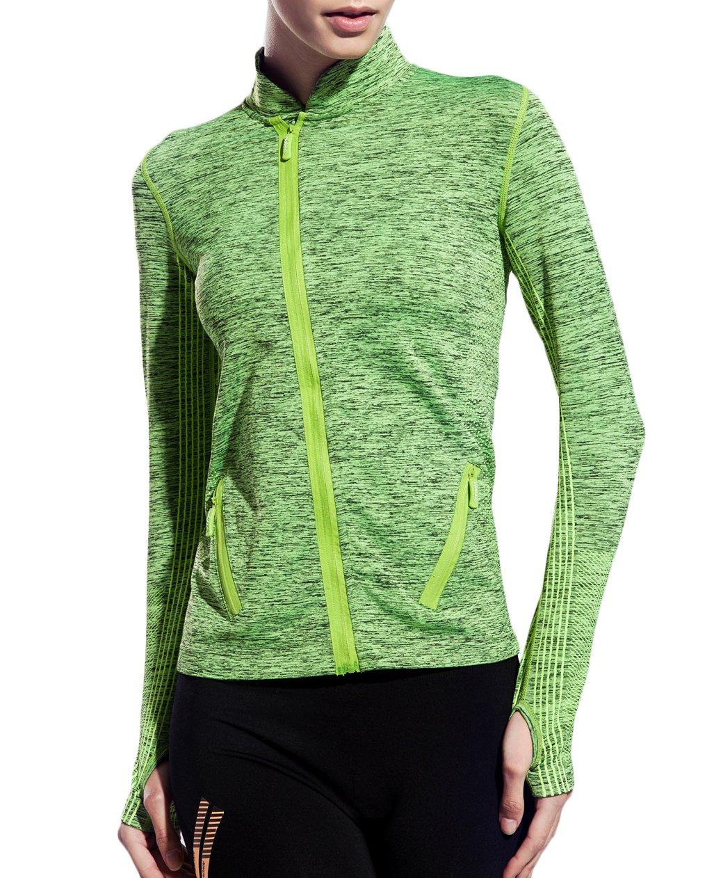 UDIY Women Athletic Sweatshirts, Full-Zip Gym Jacket Coat with Two Size Pocket,Green