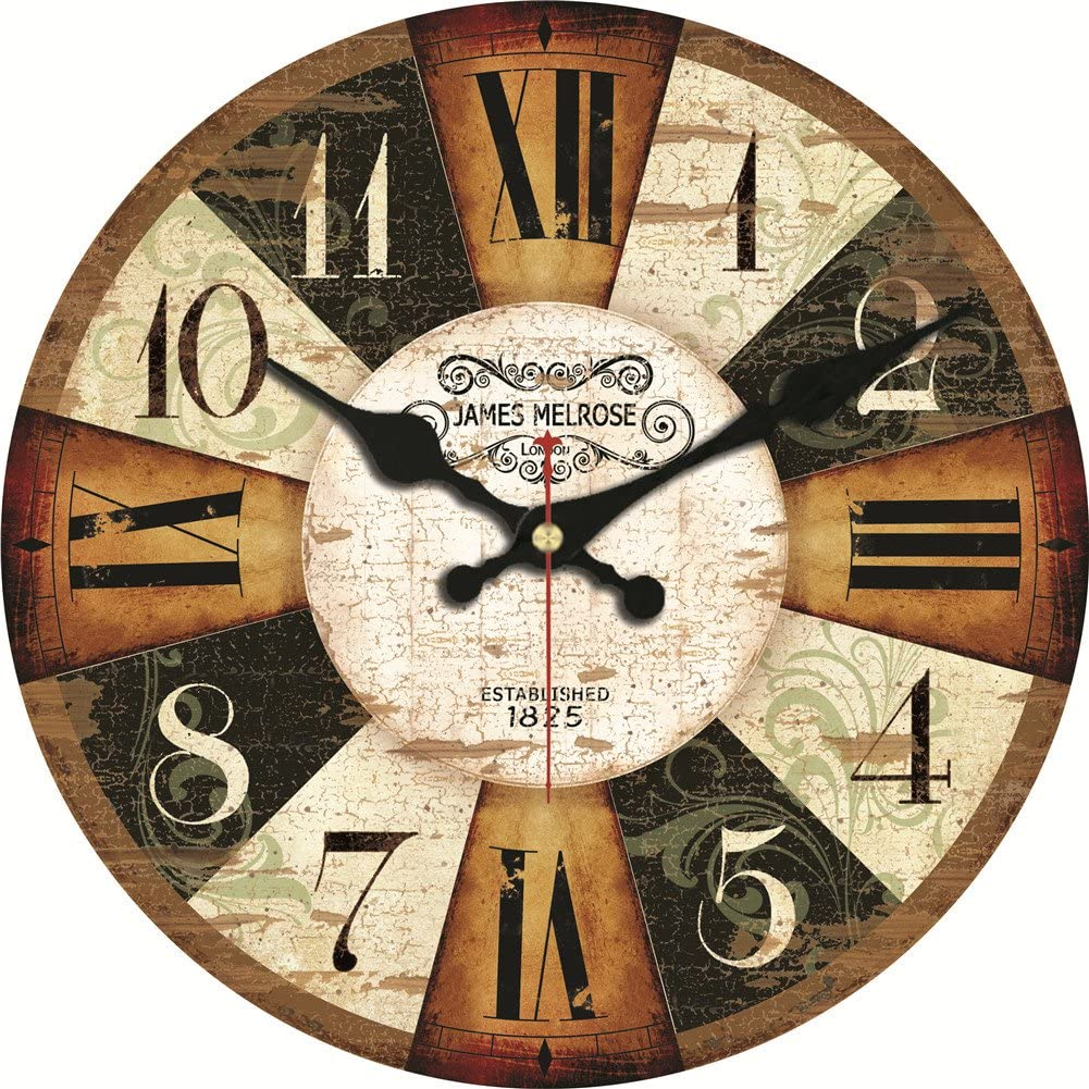ShuaXin 12 Inch Big Numerals Wall Clocks,Vintage Rustic Country Wooden Silent Non Ticking Round Wall Clock Decorative for Kitchen,Bedroom,Living Room