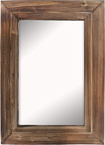 Barnyard Designs Decorative Torched Wood Frame Wall Mirror