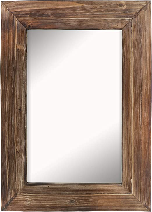 Amazon Com Barnyard Designs Decorative Torched Wood Frame Wall Mirror Large Rustic Farmhouse Mirror Decor Vertical Or Horizontal Hanging For Bathroom Vanity Living Room Or Bedroom 32 X 24 Home Kitchen