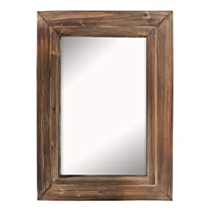 """Barnyard Designs Decorative Wall Mirror Rustic Torched Brown Wood Frame Vertical Hanging Mirror Wall Decor 32"""" x 24"""""""