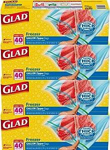 Glad Zipper Food Storage Freezer Bags - Gallon - 40 Count - 4 Pack