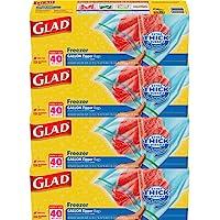 Glad Zipper Food Storage Freezer Bags, gallon, 40ct (Pack of 4)