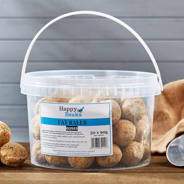 Happy Beaks Suet Fat Balls Wild Bird Food (50 x 90g Fatballs) High Energy Premium Suet Feed