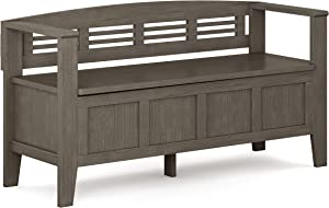 SIMPLIHOME Adams SOLID WOOD 48 inch Wide Entryway Storage Bench with Safety Hinge, Multifunctional, Rustic, in Farmhouse Grey
