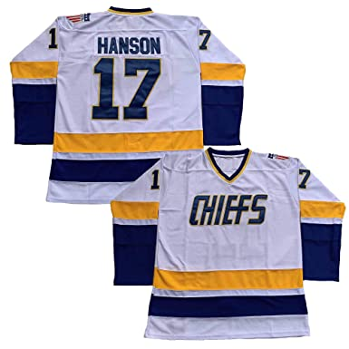 9683319b6 Hanson Brothers Charlestown Chiefs 16 Jack 17 Steve 18 Jeff Slap Shot Movie  Hockey Jersey Blue