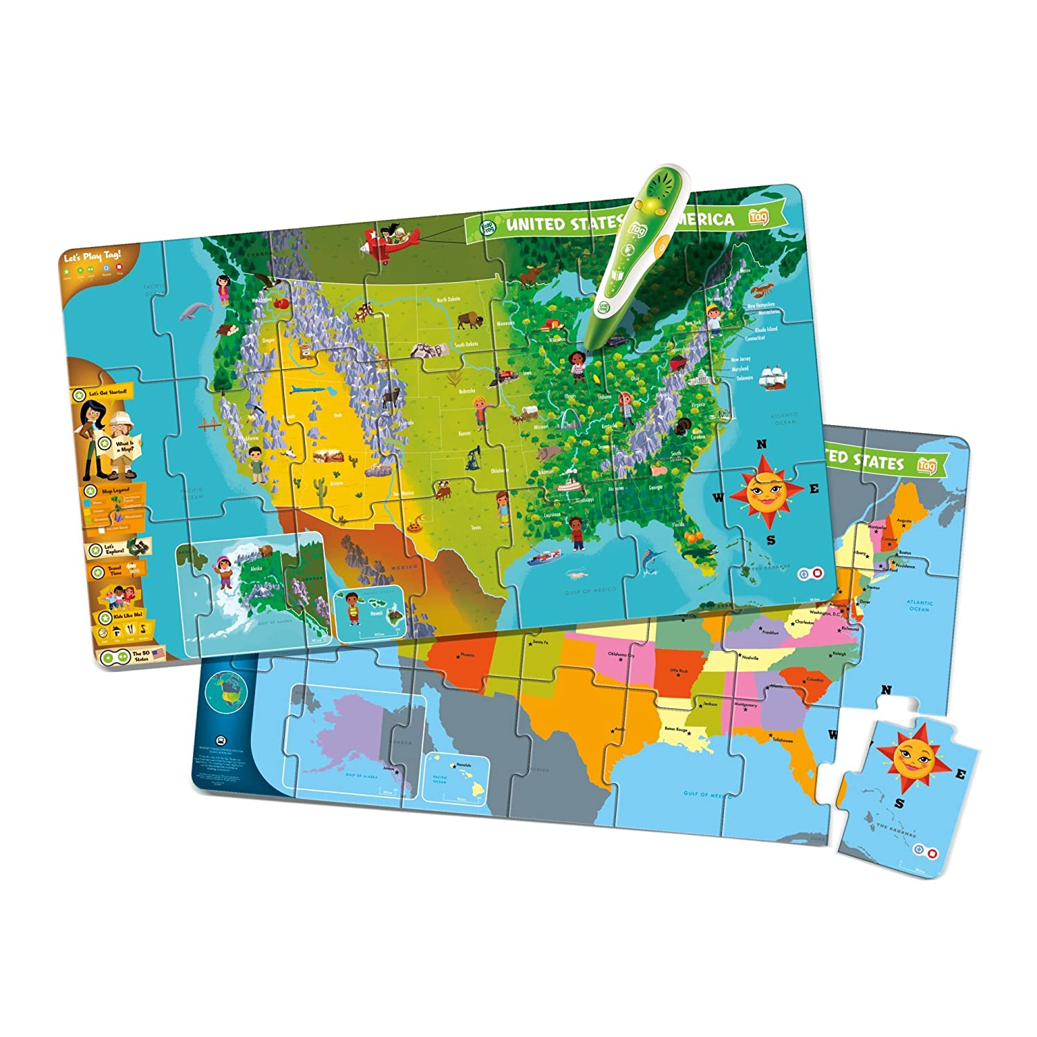 Amazoncom LeapFrog LeapReader Interactive United States Map - Interactive us map puzzle