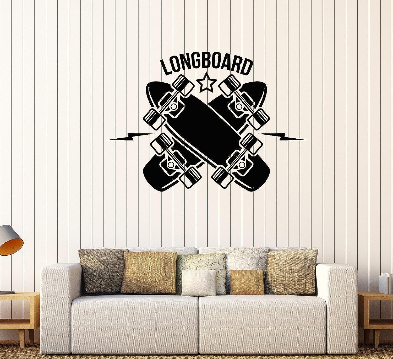 DesignToRefine Vinyl Wall Decal Longboard Skateboarding Sports Art Teen Room Stickers (515ig) Matte Black