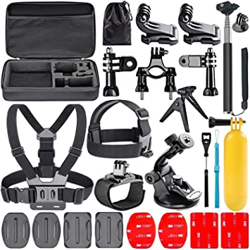 Navitech 9 in 1 Action Camera Accessory Combo Kit and Rugged Grey Storage Case Compatible with The EKEN V8s Black Action Camera