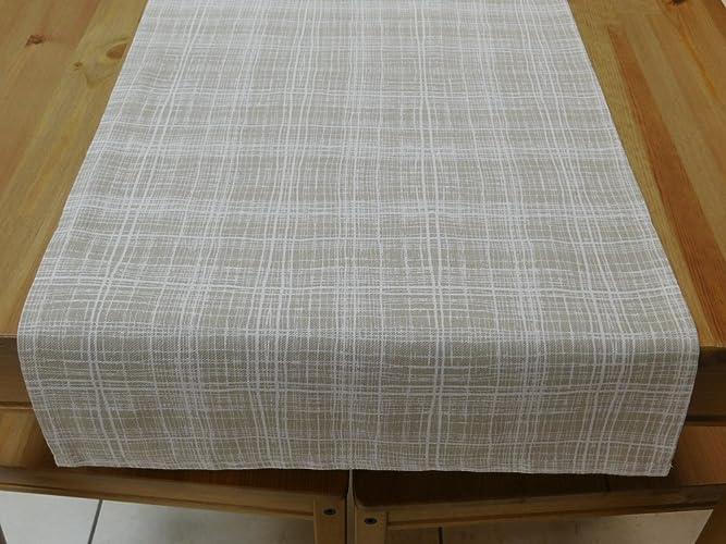 Tischläufer, Tischdecke, 140x40 cm, Tischset, Natur, Fein ...
