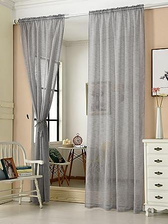 EUGAD Gardinen Vorhnge Transparent Leinen Optik Mit Kruselband Stores Vorhang Voile Fensterschal Dekoschal Fr Wohnzimmer