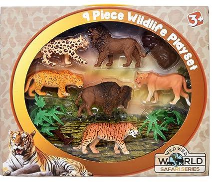 Amazon Com Plastic Animal Figures 9 Piece Jungle Animal Toys Set