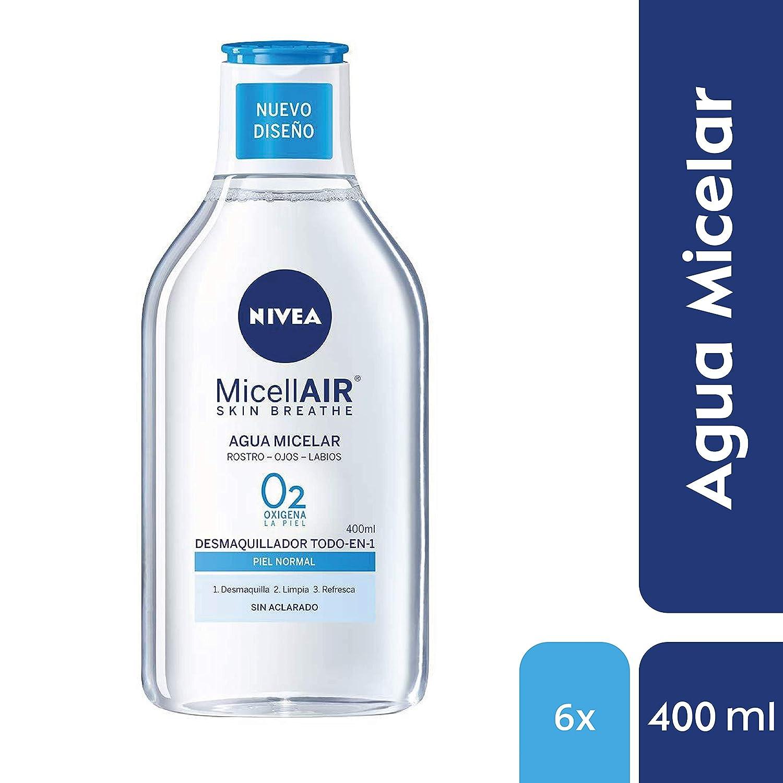 NIVEA MicellAIR Skin Breathe Agua Micelar Piel Normal, agua micelar desmaquillante para limpieza facial, desmaquillador de ojos, rostro y labios - pack de 6 ...