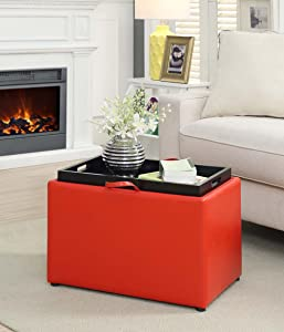 Convenience Concepts Designs4Comfort Modern Accent Storage Ottoman, Bright Red