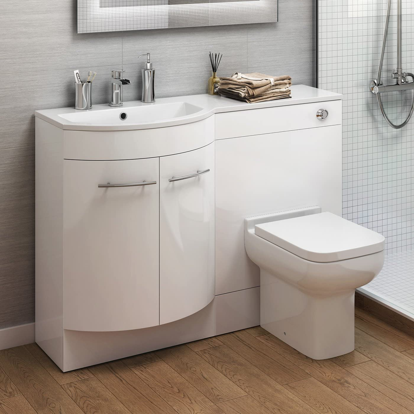 White Vanity Basin Unit Short Projection Back to Wall Toilet