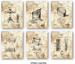 Vintage Home Laundry Room Artwork - Laundry Wringer, Washing Machine, Sad Iron, Clothes Basket, Clothespin, Clothes Dryer - Set of 6 8 x 10 Unframed Patent Prints - Great Gift Dry Cleaners