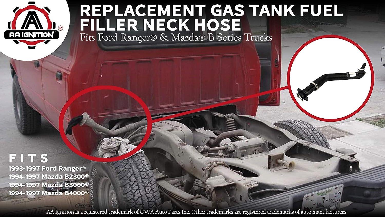 Gas Tank Fuel Filler Neck Hose ZZM042210C Non - Flareside /& Splash Model - Replaces# F47Z9034P AL5Z9034A AL5Z9034C Renewed B3000 Fits Ford Ranger 1993-1997 /& Mazda B2300 B4000 1994-1997