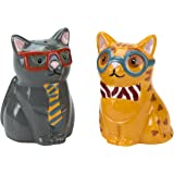 Salt & Pepper Shakers, Smarty Cat Collection, Hand-painted Earthenware by Boston Warehouse