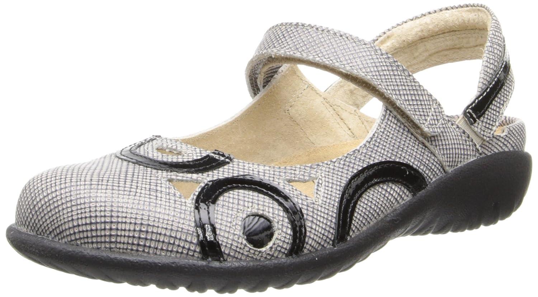 Naot Damen Schuhe Sandaletten Rongo Leder beige/schwarz 10330 Wechselfußbett Sachet Leder/schwarz Patent Leder