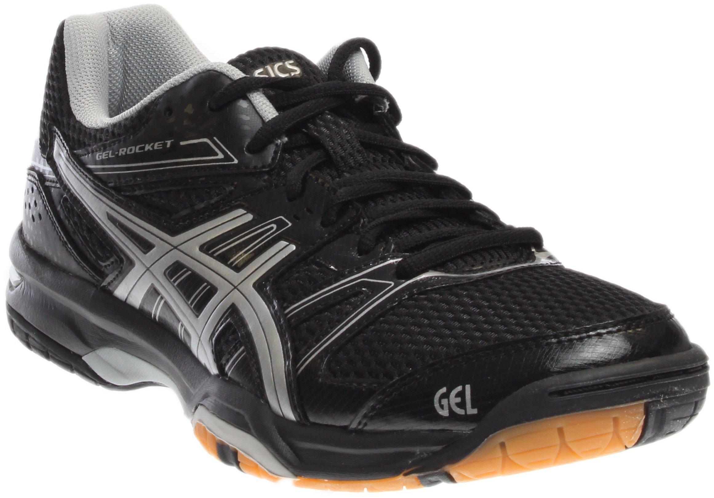 ASICS Women's Gel Rocket 7 Volley Ball Shoe,Black/Silver,10 M US