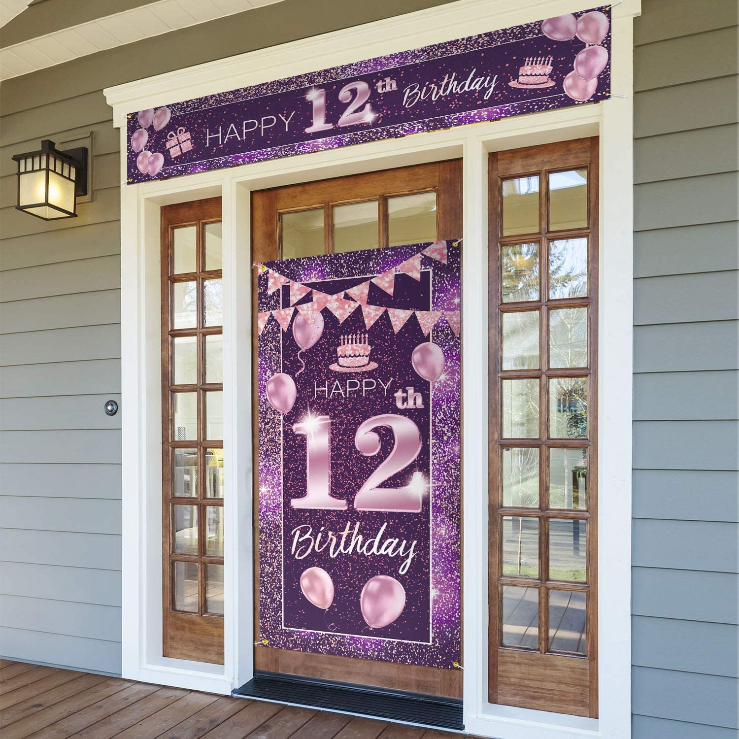 PAKBOOM Happy 12th Birthday Door Cover Porch Banner Sign Set - 12 Years Old Birthday Decoraions Party Supplies for Girls - Purple Pink