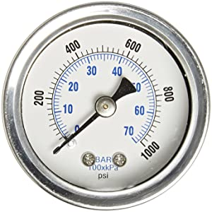 """PIC Gauge 202L-158M 1.5"""" Dial, 0/1000 psi Range, 1/8"""" Male NPT Connection Size, Center Back Mount Glycerine Filled Pressure Gauge with a Stainless Steel Case, Brass Internals, Stainless Steel Bezel, and Polycarbonate Lens"""