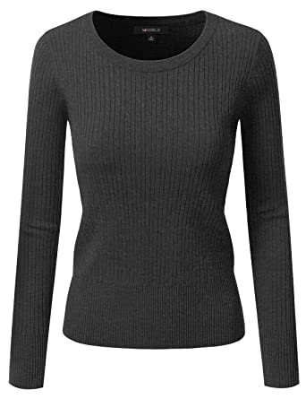 Doublju Fitted Crewneck Twisted Cable Knit Sweater For Women at ...