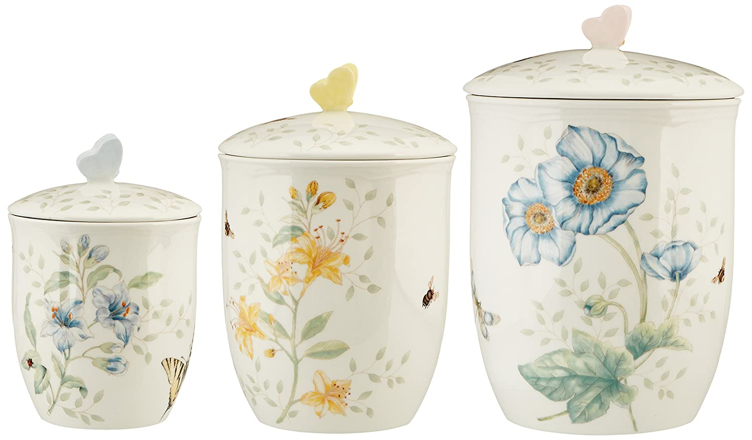 amazon com lenox 3 piece butterfly meadow canister set white